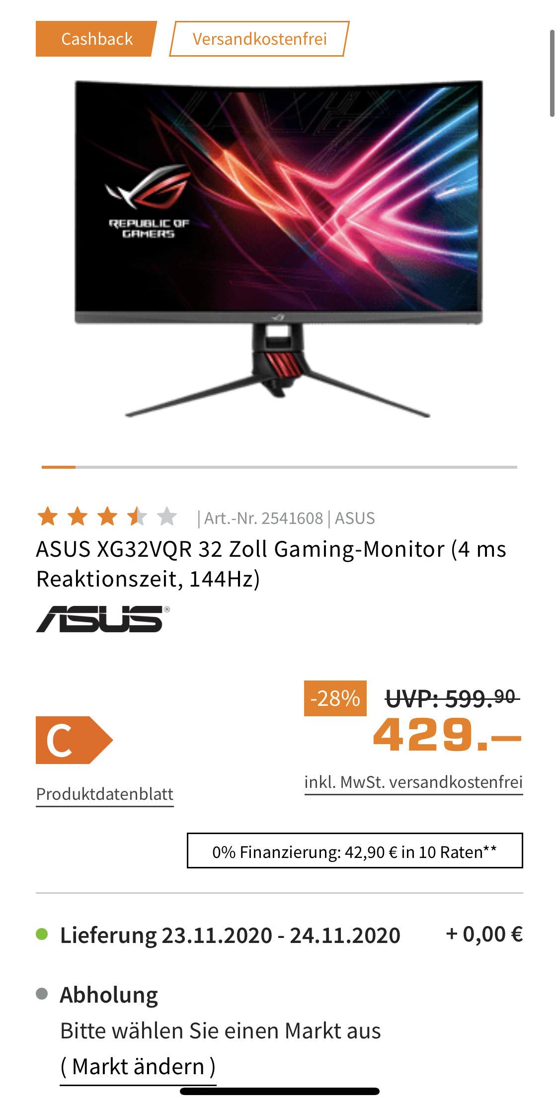 ASUS XG32VQR 32 Zoll Gaming-Monitor für 379 € mit Cashback (4 ms Reaktionszeit, 144Hz, 2560x1440, VA)
