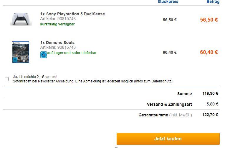 Systemfehler: Demon`s Souls (PS5) und Dual Sense reduziert