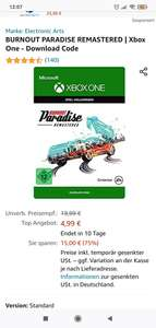 Xbox Burnout Paradise Remastered (Download Code)