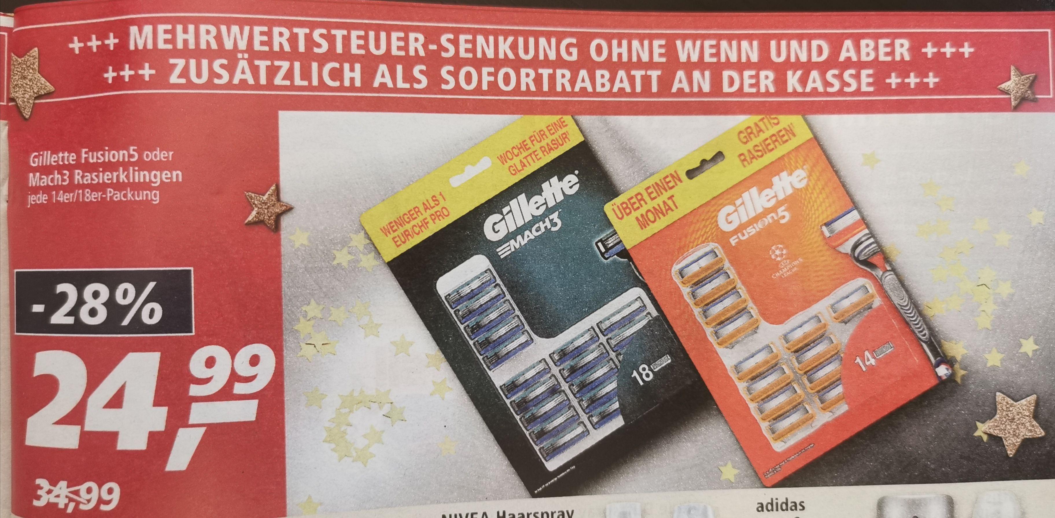 [Lokal] Real Koblenz / Mühlheim-Kärlich / Mutterstadt evtl Deutschlandweit Gillette Mach 3 oder Fusion 5