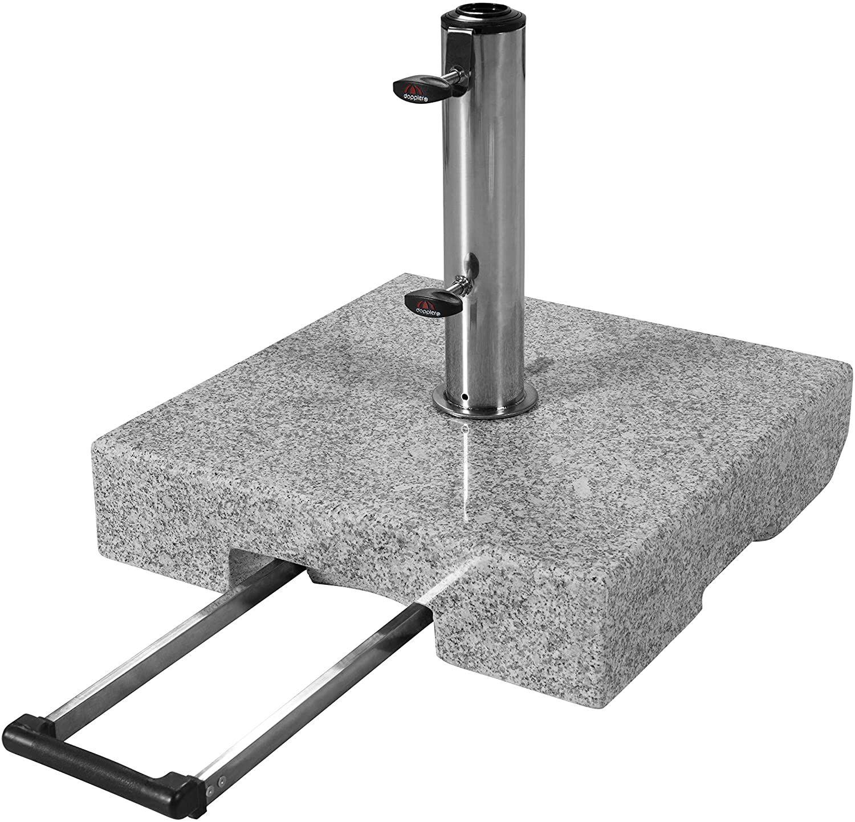 [Prime] doppler Granit-Sonnenschirmständer mit Ausziehgriff 45kg (Edelstahlrohr, 2 Rollen und Zugriff)