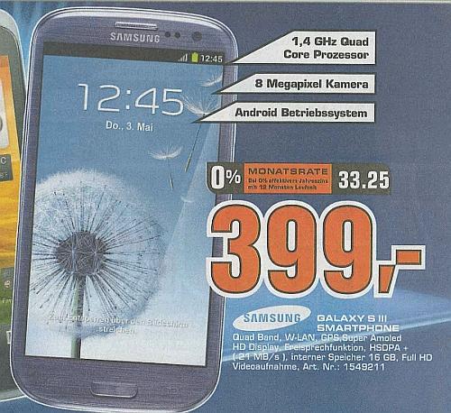 Saturn (HH Lokal)  Samsung Galaxy S3 399,- €