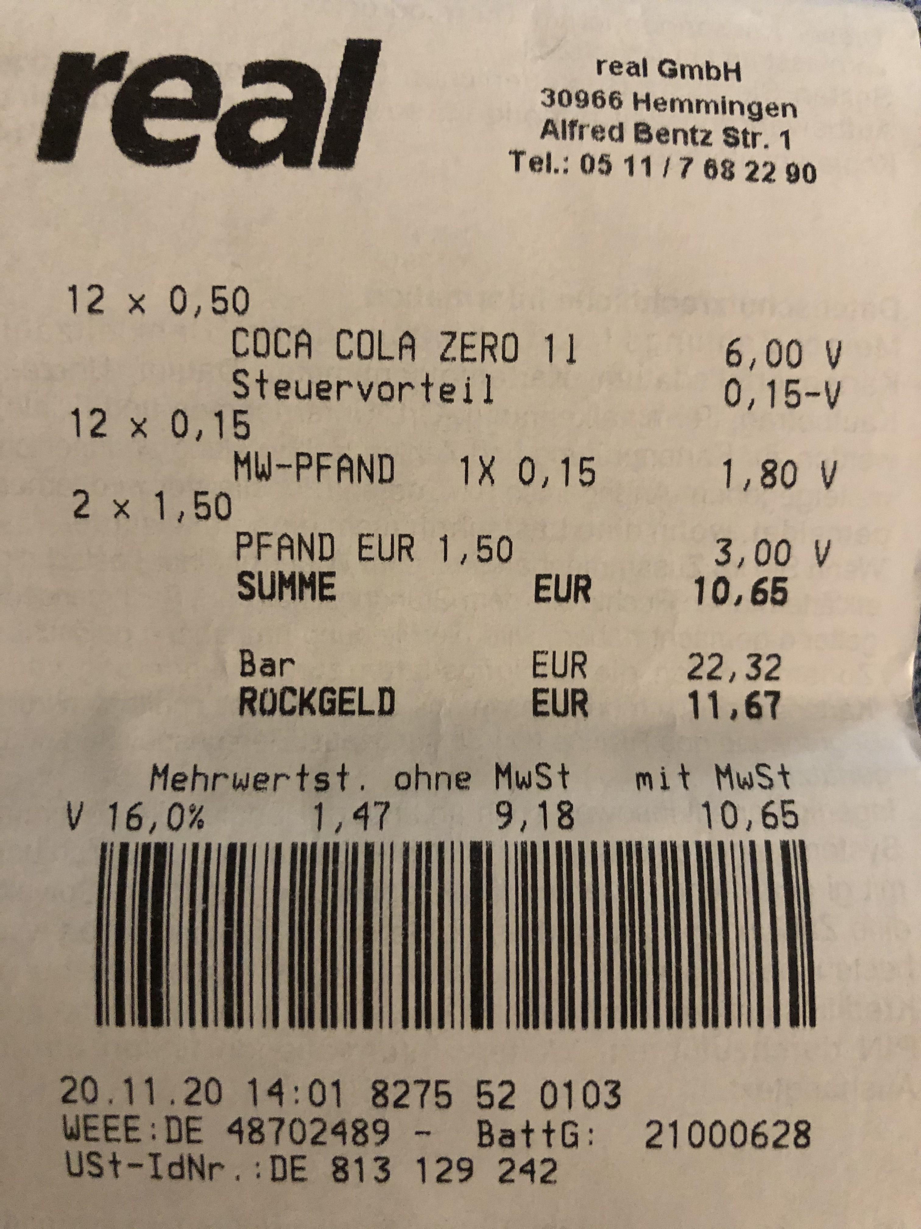 Lokal Real Hemmingen bei Hannover Coca Cola Zero 1 Liter Glasflasche