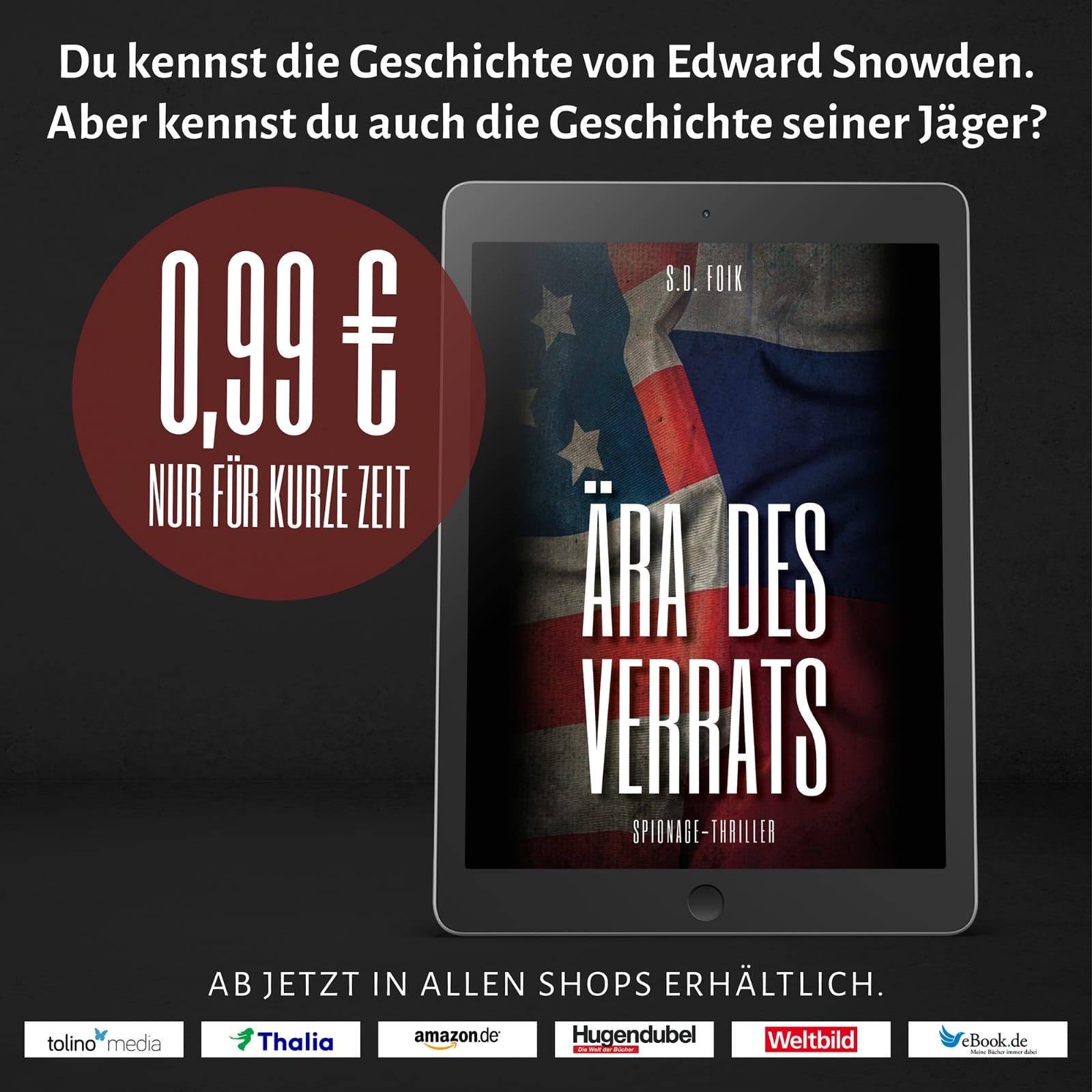 """[eBook] Roman """"Ära des Verrats"""" kurzfristig für 99ct"""