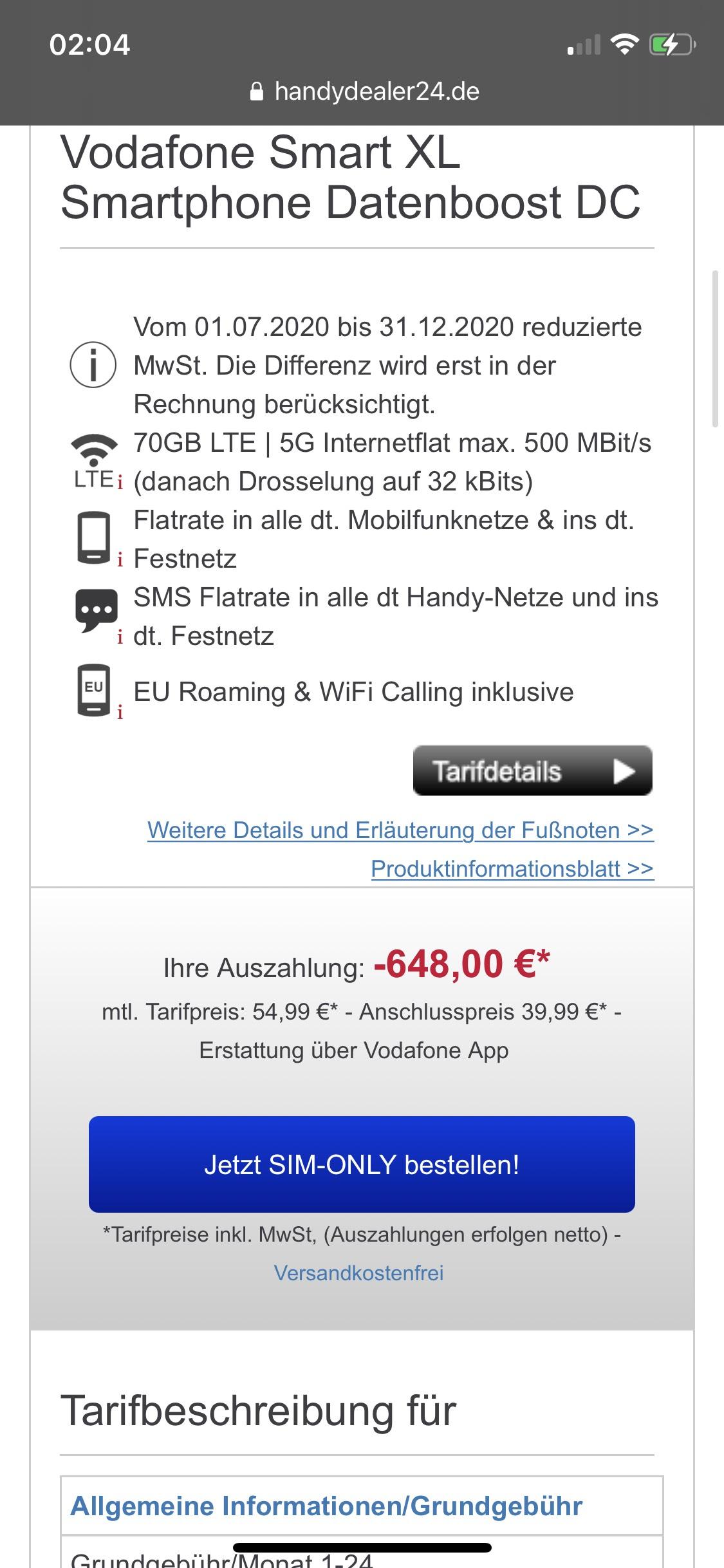 [Normalos] 70GB Vodafone 5G inkl. Wifi Calling eff. 27,91 durch 648€ Auszahlung +50€ Gutschrift