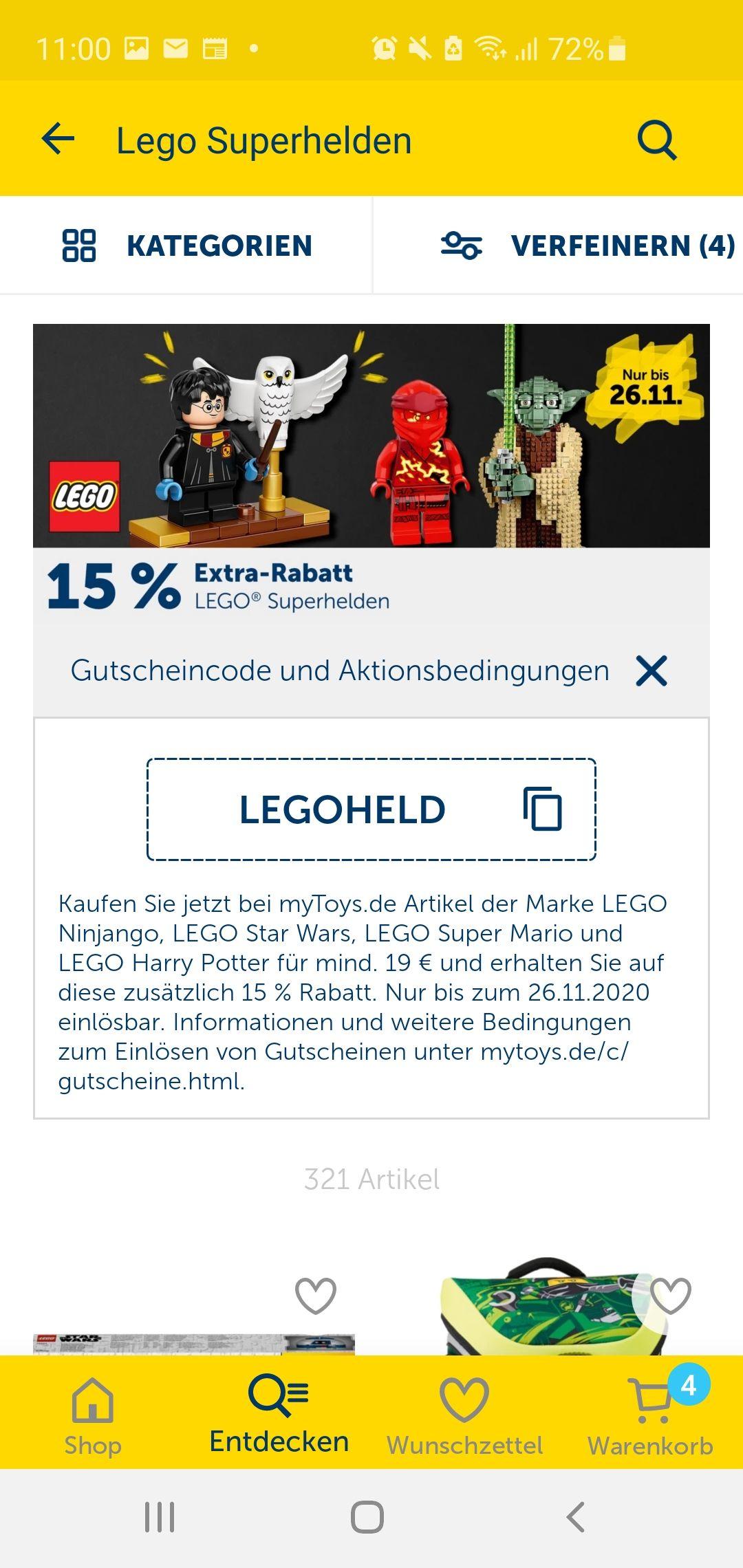 15% auf Legohelden bei mytoys Harry Potter, Star Wars, Ninjago, Super Mario z.B. 75273
