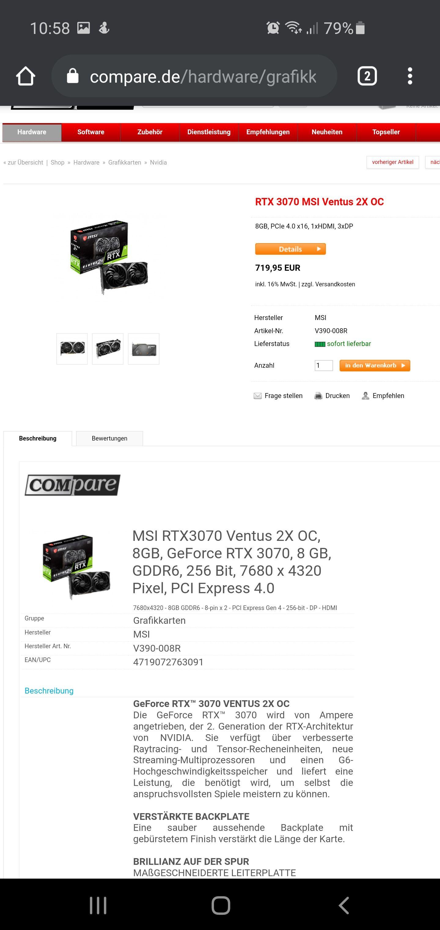 RTX 3070 MSI Ventus 2X OC Und andere Modelle sofort lieferbar DE shop/Versand