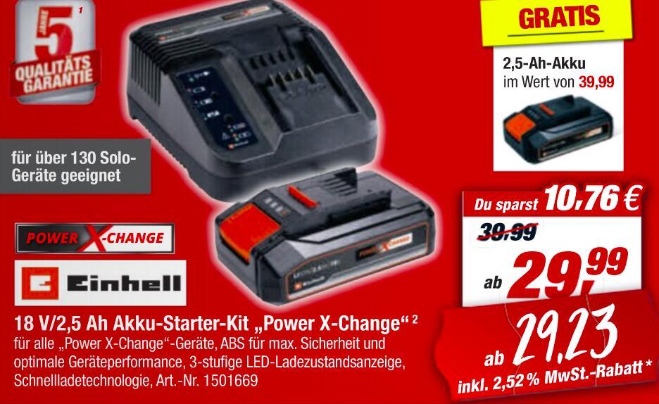 Einhell Power-X-Change Ladegerät + 2x 2,5Ah Akku (18V)