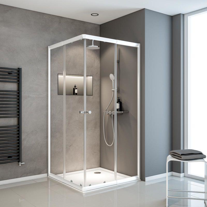 Duschkabine mit Eckeinstieg und Schiebetüren (80 - 90 cm breit)