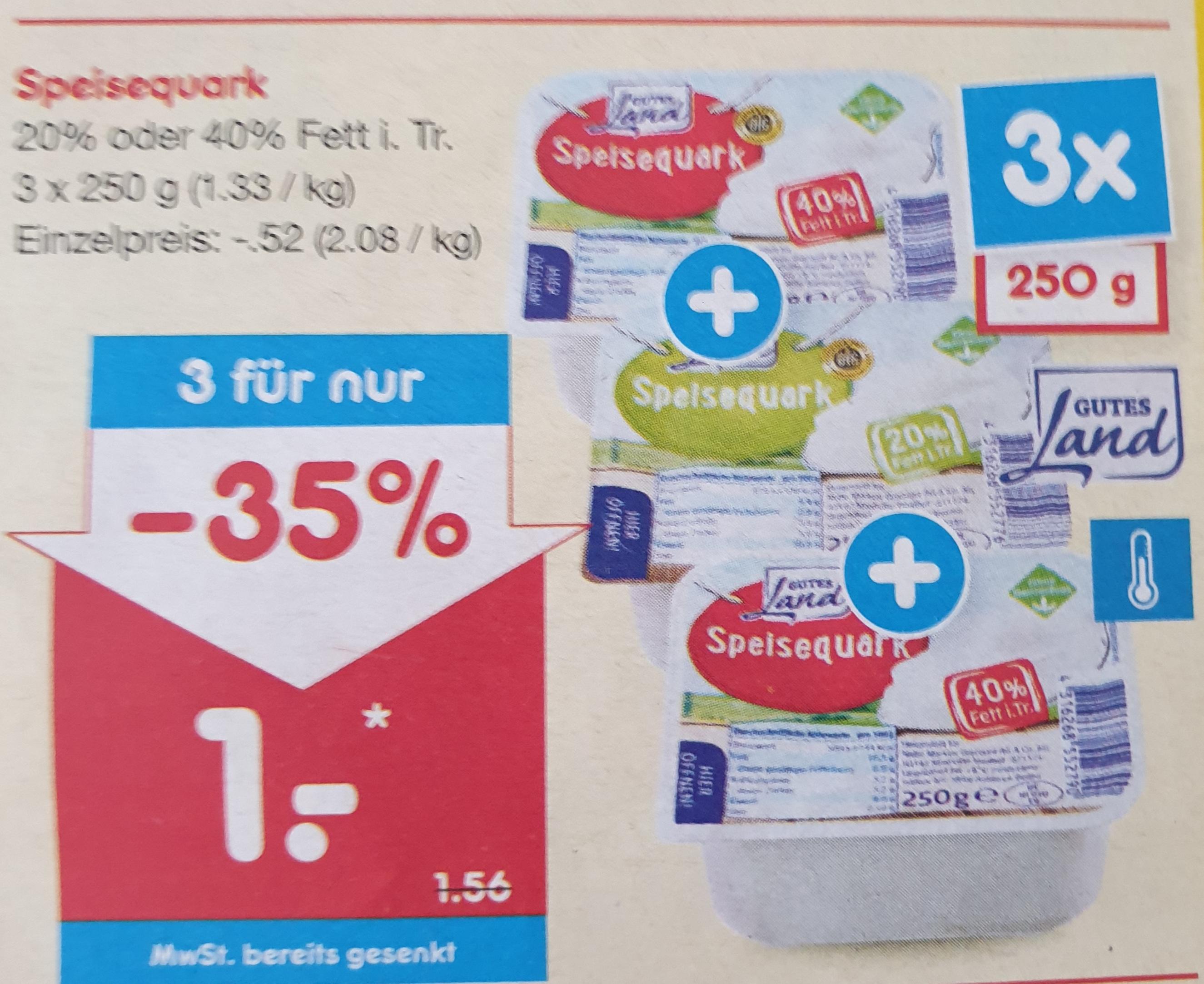 [ Netto ] 3*250g Speisequark 20% oder 40% Fett