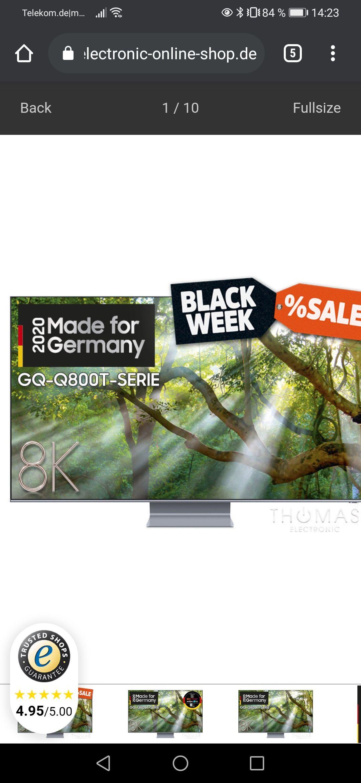 Thomas Electronic Blackweek Gutscheincodes bis zu 1000€ bei z. B. GQ65Q87T sind es 200€(Endpreis 1.499€)