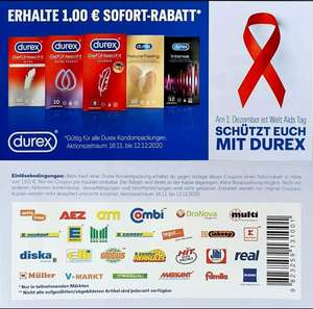 [durex] 1€ Coupon auf alle Kondom-Packungen der Marke durex