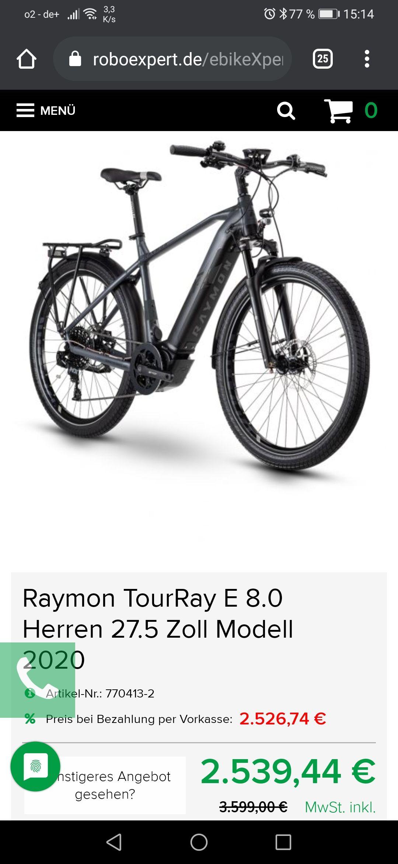 Raymon TourRay E 8.0 Black / Dark Grey / Orange Matt Gent 2020 nur Rahmen Größe 52