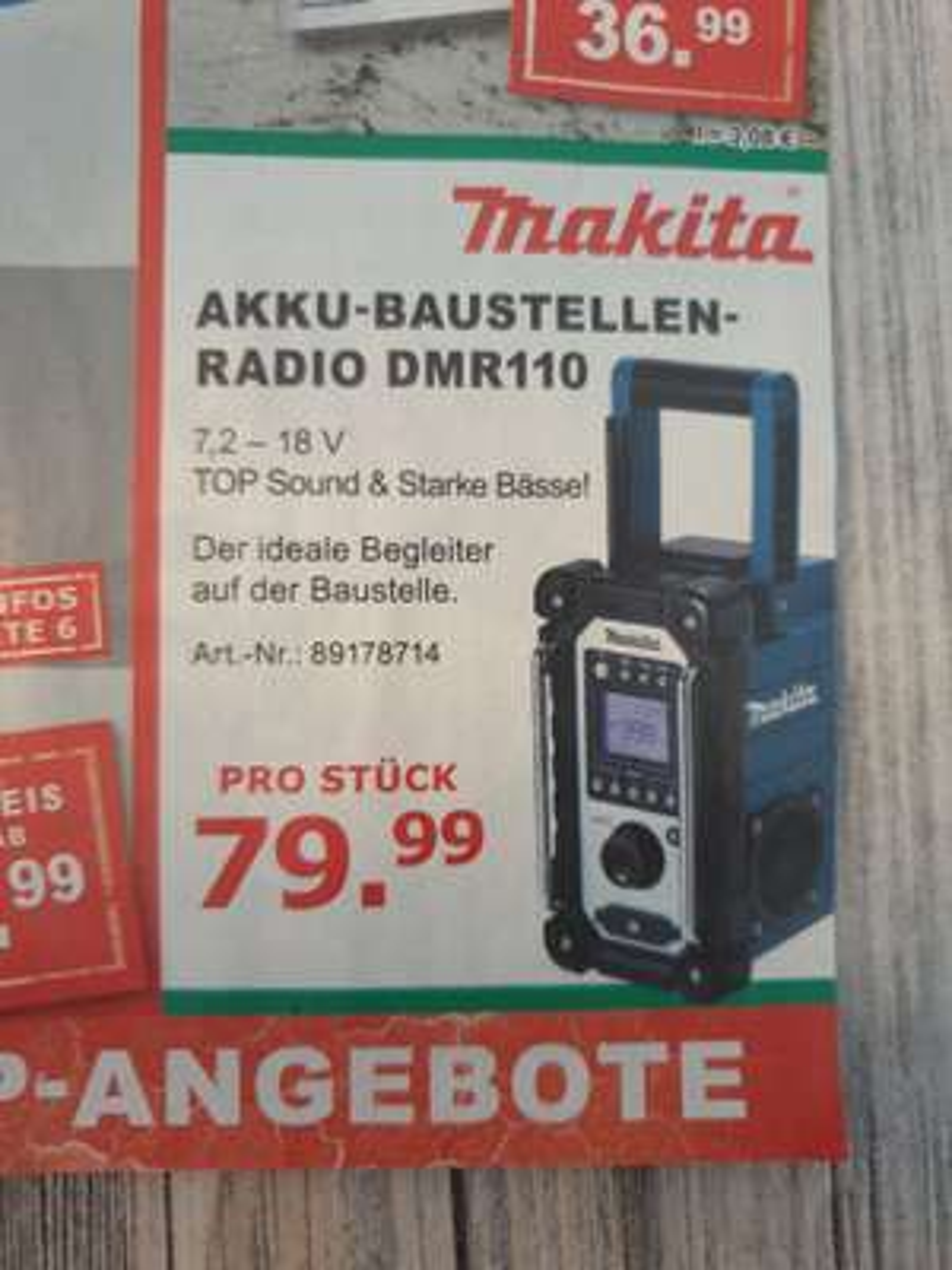 Makita Baustellenradio DMR110 DAB+ (Bauhaus TPG) Fassbender Tenten Bonn Düsseldorf Köln u.a.