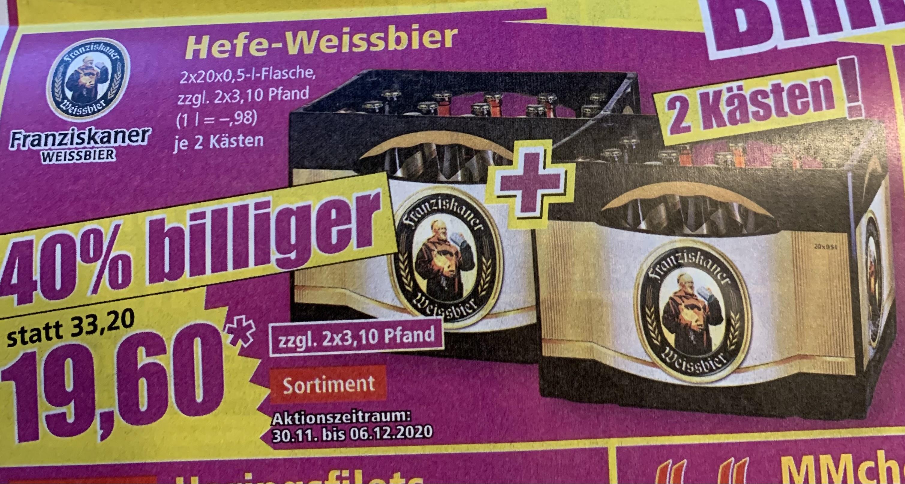 [Norma] Franziskaner Hefe-Weißbier 2 Kästen nur 19,60€