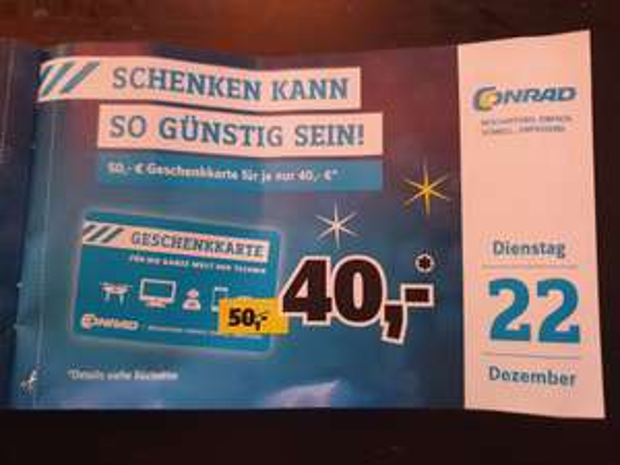 CONRAD Geschenkkarte für je 40 euro = 20% auf alles