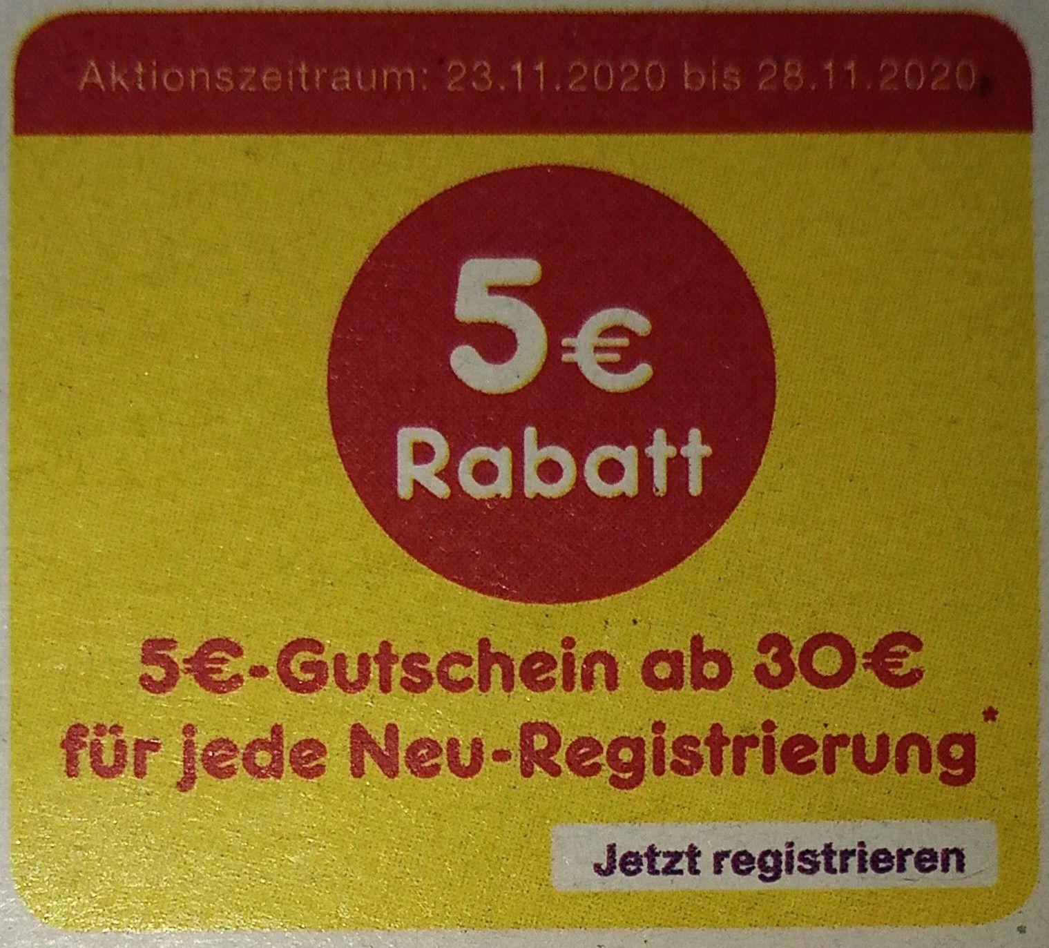 Netto App: 5 Euro Gutschein (bis 28.12. gültig) ab 30 Euro für jede Neuregistrierung vom 23.-29.11.