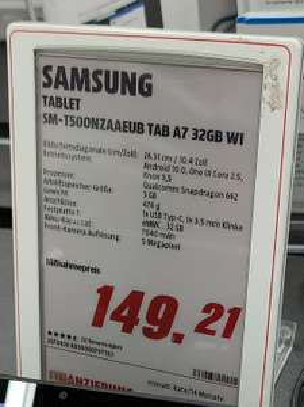 LOKAL Dortmund (Indupark) SAMSUNG TAB A7 Wi-Fi, Tablet, 32 GB, 3 GB RAM, 10.4 Zoll, Android 10.0,