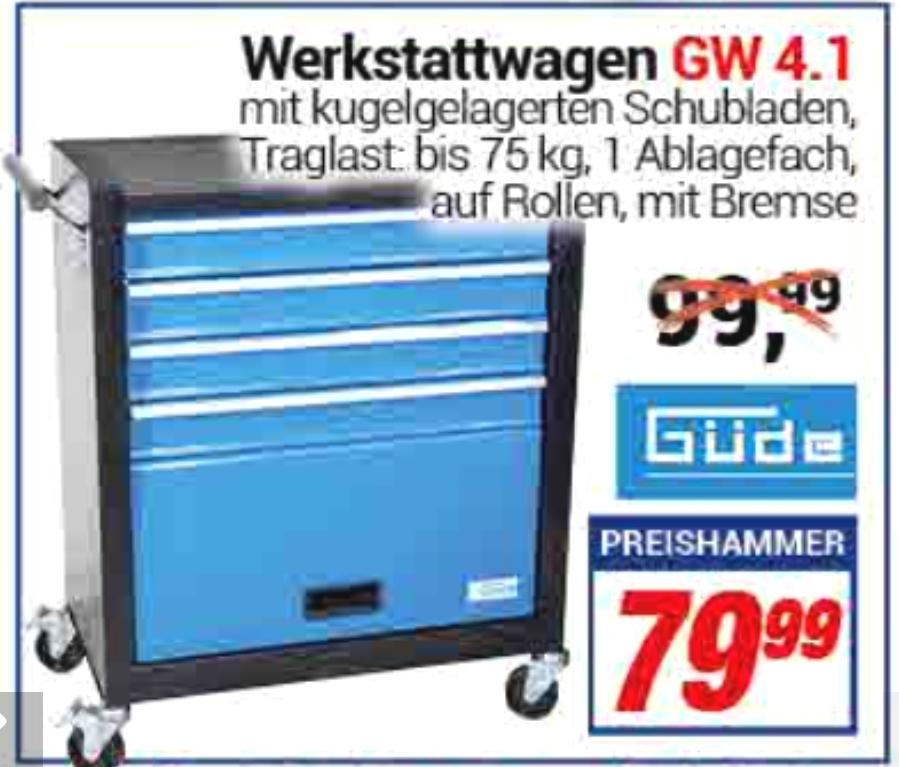 [ Centershop ] Güde Werkstattwagen GW 4.1 Werkzeugwagen Werktisch Arbeitstisch Rollwagen 4 Schubladen