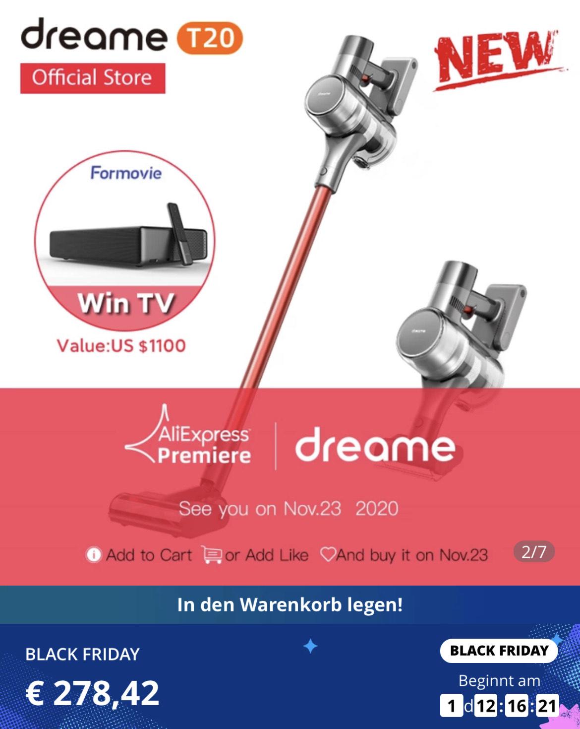 Dreame T20 - Akku-Staubsauger (125k U, 150AW, wechselbarer Akku, HD-Display, 600ml Behälter [AliExpress, dreame Official, EU-Versand]