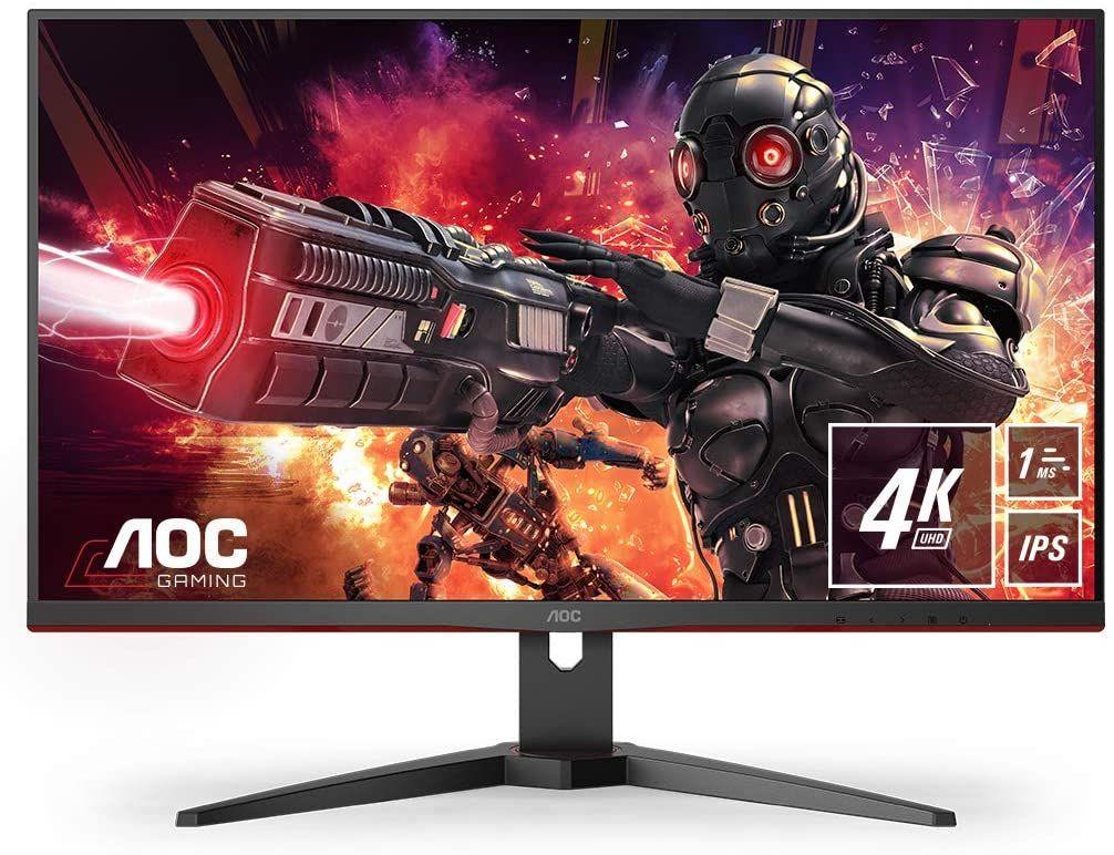 AOC U28G2AE/BK 28 Zoll 4K UHD Gaming-Monitor (3840 x 2160 Pixel, IPS, 60 Hz, AMD FreeSync, adaptive Sync, 4 ms, HDMI, DisplayPort, VESA)