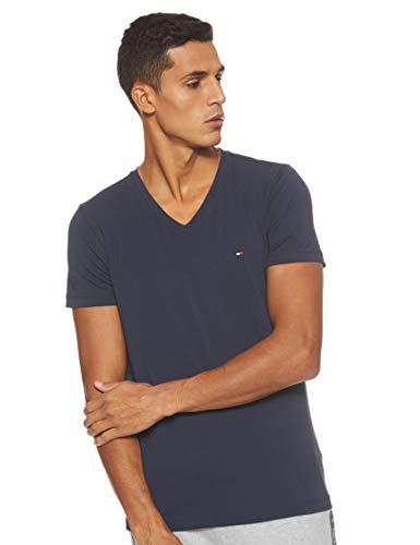 [Prime] Tommy Hilfiger Herren Core Stretch Slim Vneck T-Shirt - Blau oder Schwarz (XS - 3XL)