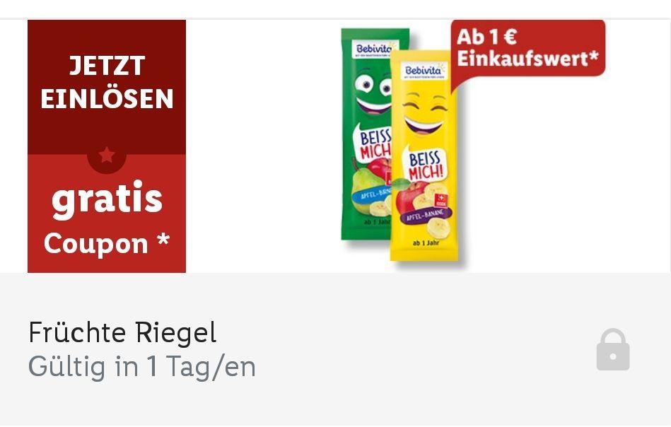 Gratis Früchte Riegel ab 1€ Einkauf in der Lidl App