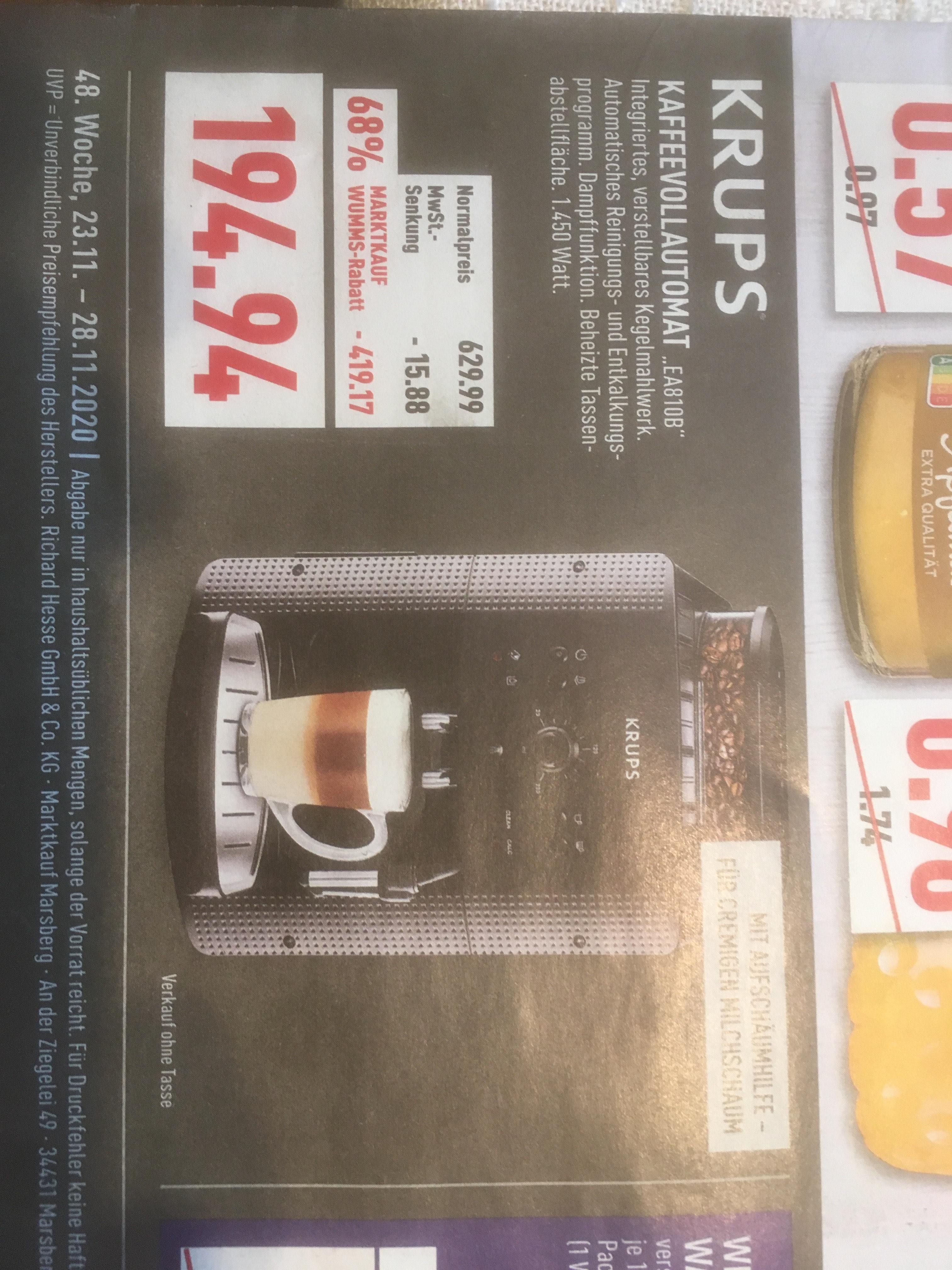 (Lokal) Kaffeevollautomat Krups EA810B - Marktkauf