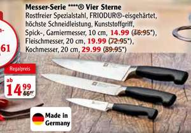 Globus ZWILLING Serie Vier Sterne z.B. Kochmesser 20 cm, 19,99€ statt 59,95€ Idealo