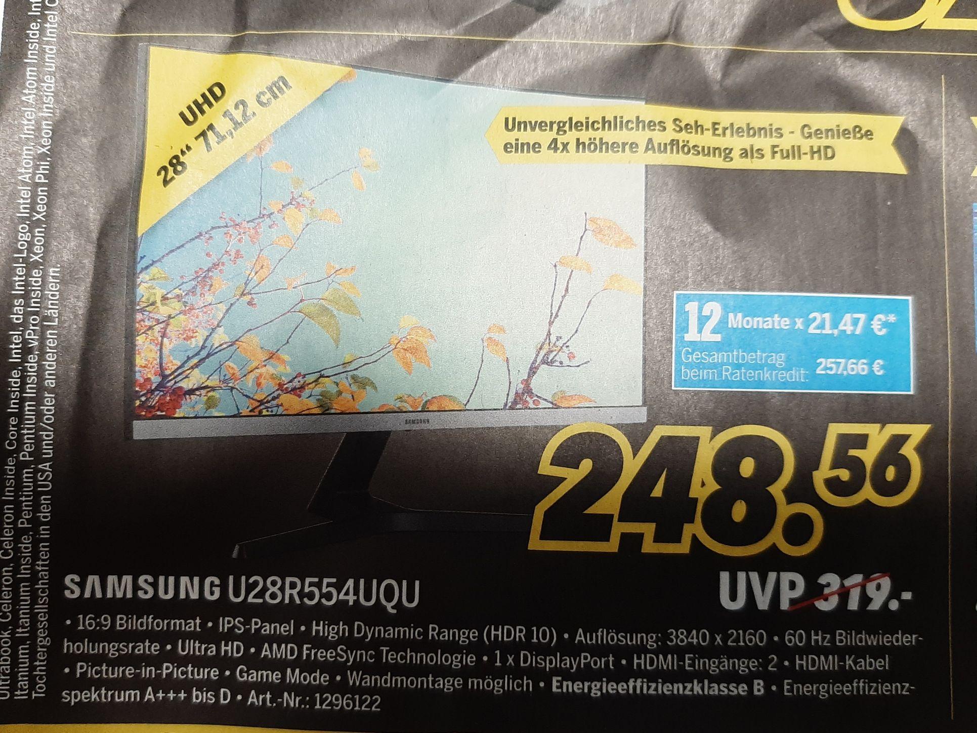 (lokal) Samsung u28r554uqu Monitor 4K mit IPS Panel Medimax