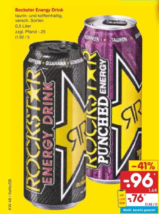 [Netto MD] Rockstar Energy Drink mit App und Rabatt Coupon ca. 60 Cent/Dose