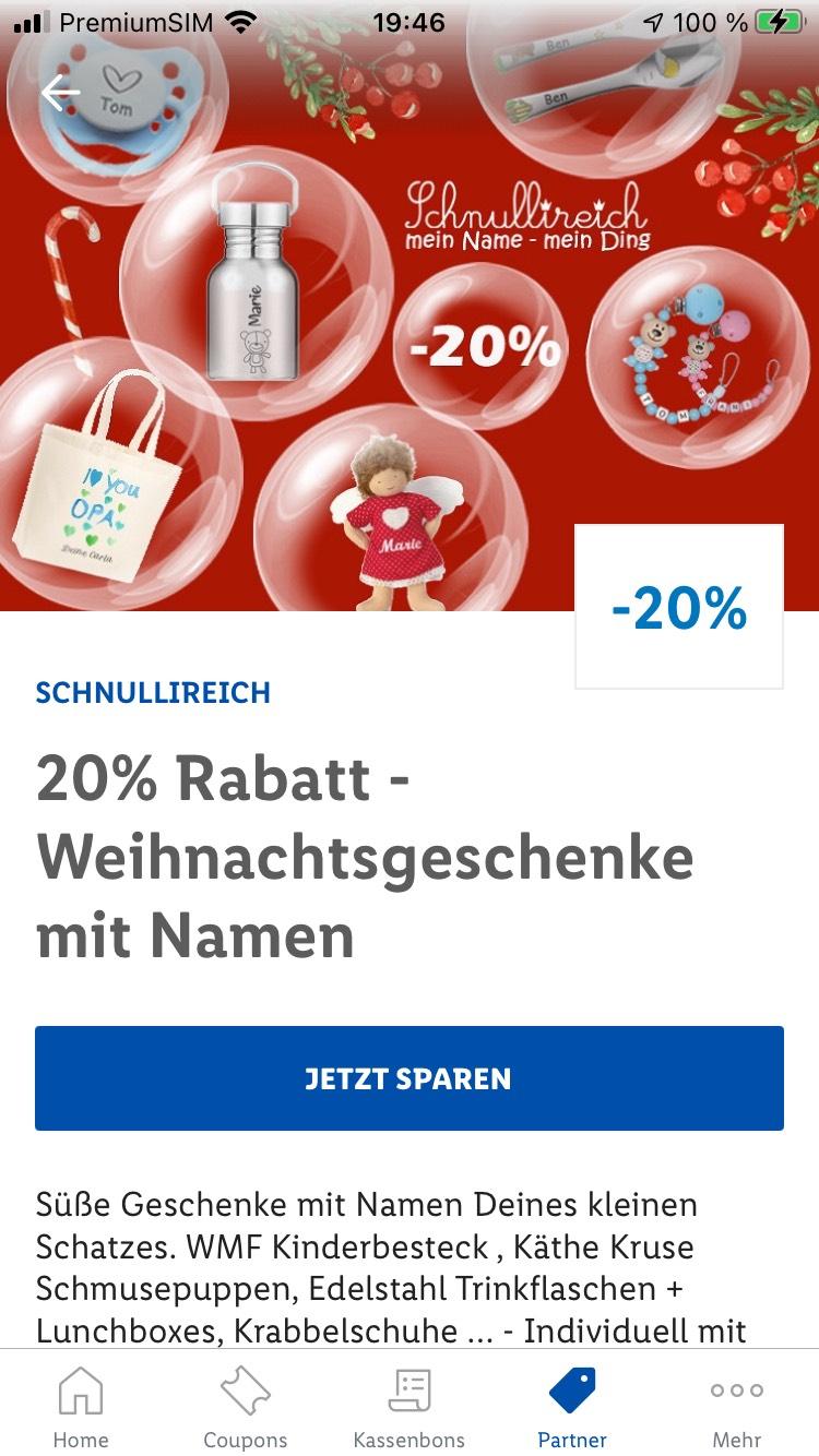 Lidl Plus App 20 % Schnullireich