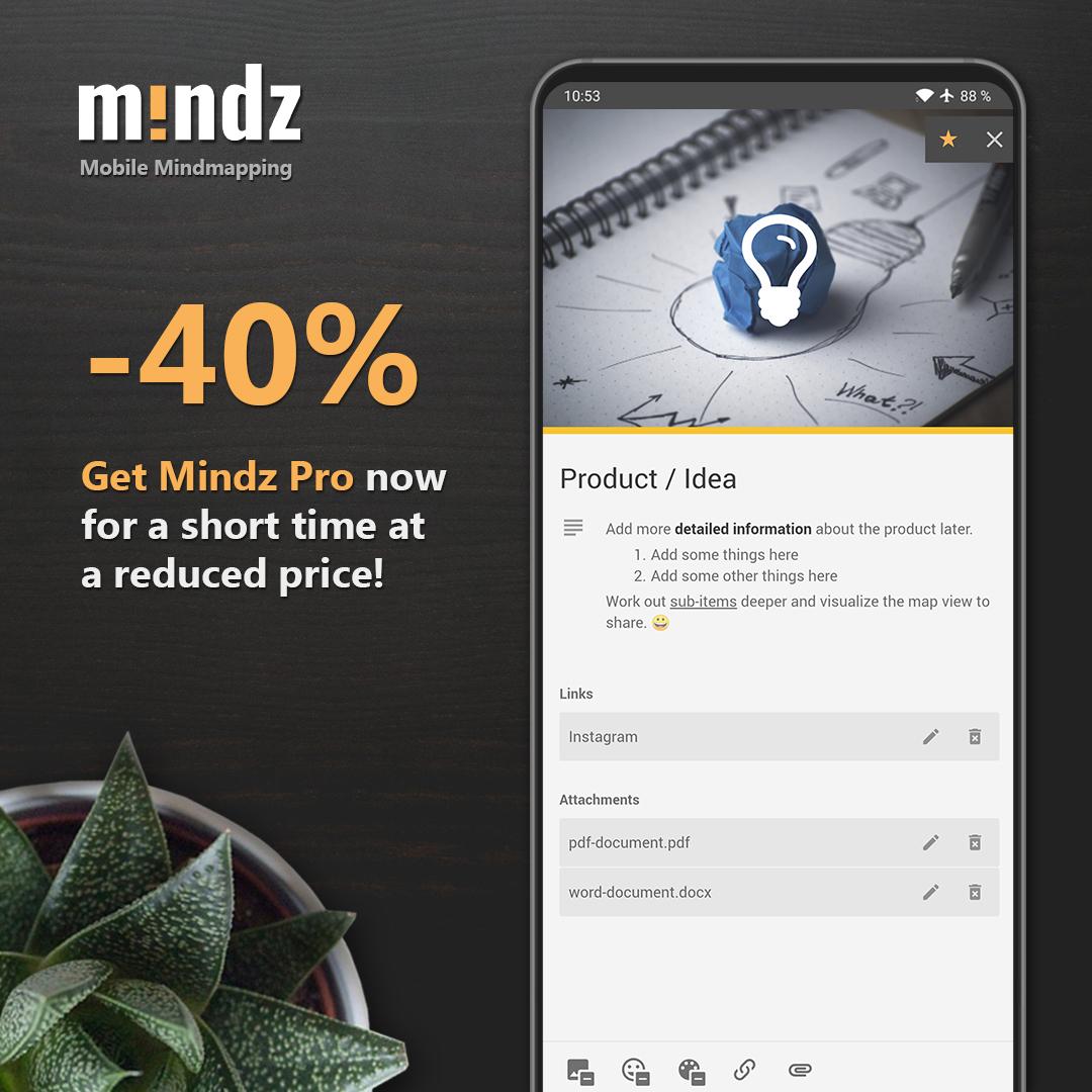 Mindz - Mindmap (Pro) | Mind Mapping App | Bewertung: 4,8 | Android