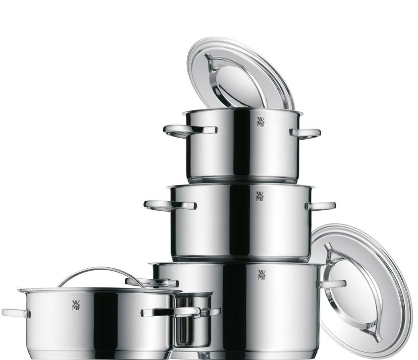 WMF Gala Plus Topfset mit Metalldeckel silber 4-teilig