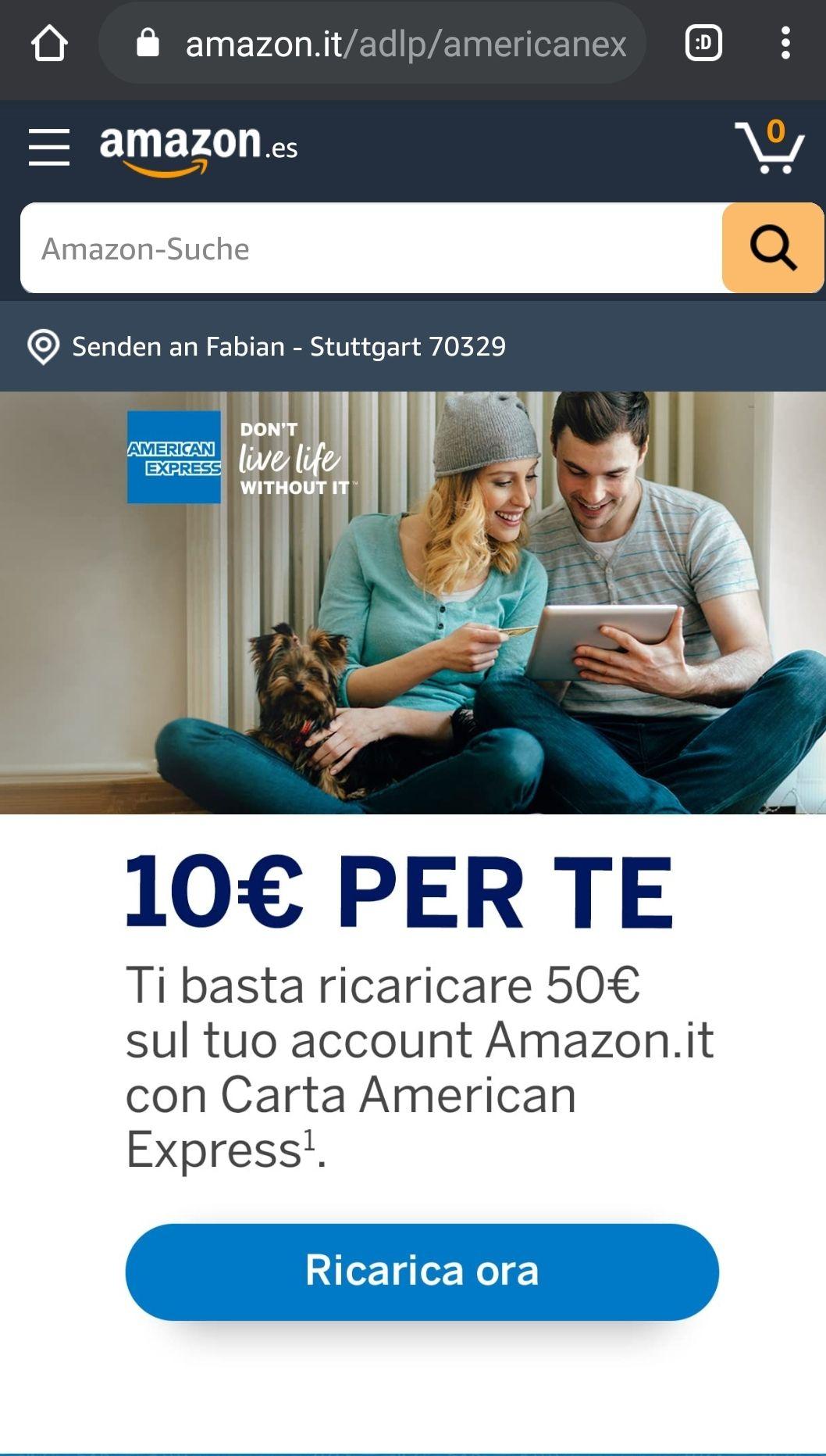 16€ Aktionsguthaben nach 80€ Aufladung mit American Express [Gutscheinfehler] [Amazon IT]