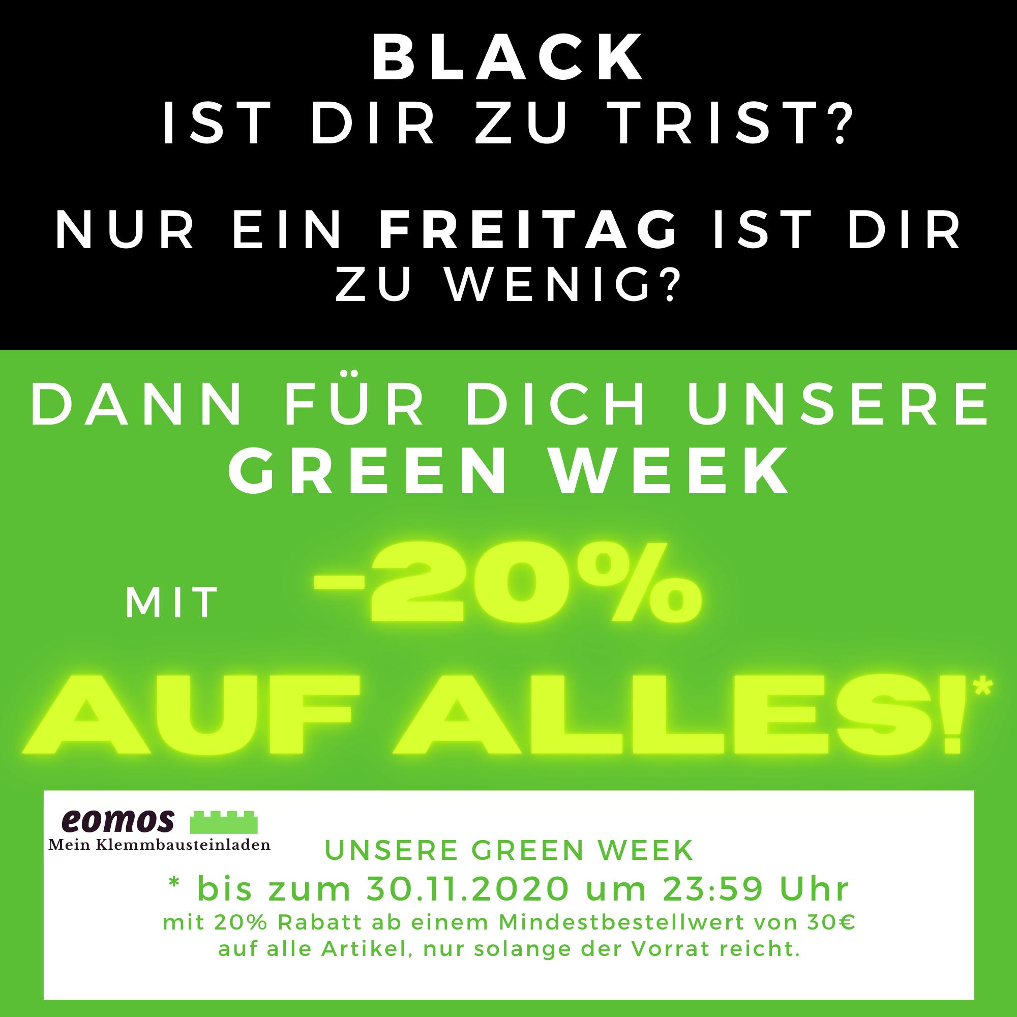 Update: 20% Rabatt auf alles bei eomos Mein Klemmbausteinladen in der GREEN WEEK