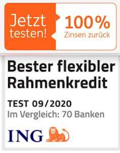 ING Rahmenkredit: 3 Monate zinsfrei bis zu 25.000€ leihen (max. 364,38€ Ersparnis)