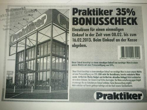 Lokal Praktiker Zwickau Schubertstr. 35% auf Alles vom 08.02-16.02.2013