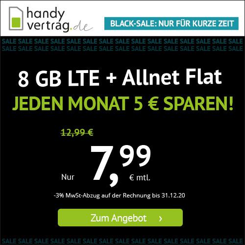 Handyvertrag.de Black Week Tarife II: z.B. 8GB LTE für mtl. 7,99€ oder 2GB LTE für mtl. 3,99€ [mtl. kündbar, Telefonica-Netz]
