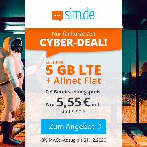 sim.de Black Week Deals II: z.B. 5GB LTE Tarif mtl. 5,55€ oder 1GB LTE Tarif mtl. 2,99€ [3 Monate MVLZ, Telefonica-Netz]