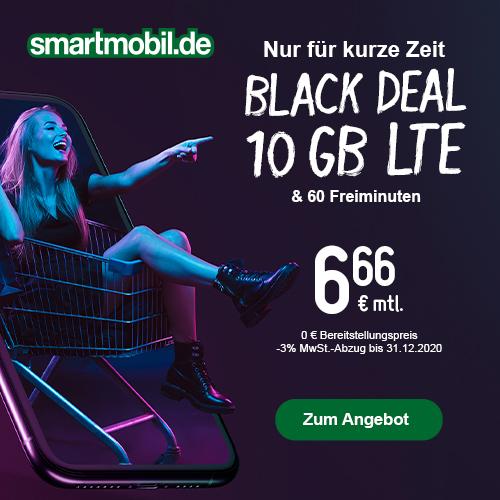 10GB LTE (50 Mbit/s) smartmobil.de Tarif für mtl. 6,66€ mit 60 Freimin. + VoLTE & WLAN Call (täglich kündbar; Telefonica-Netz)