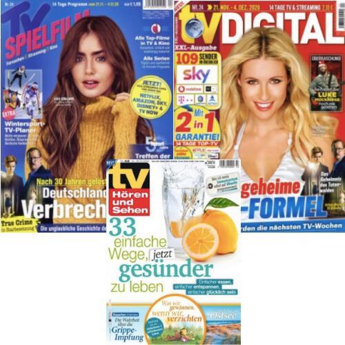 TV Digital XXL für 57€ + 55€ BestChoice | TV Spielfilm für 53,10€ + 45 € BC | TV Hören + Sehen für 111,23€ + 105 BC