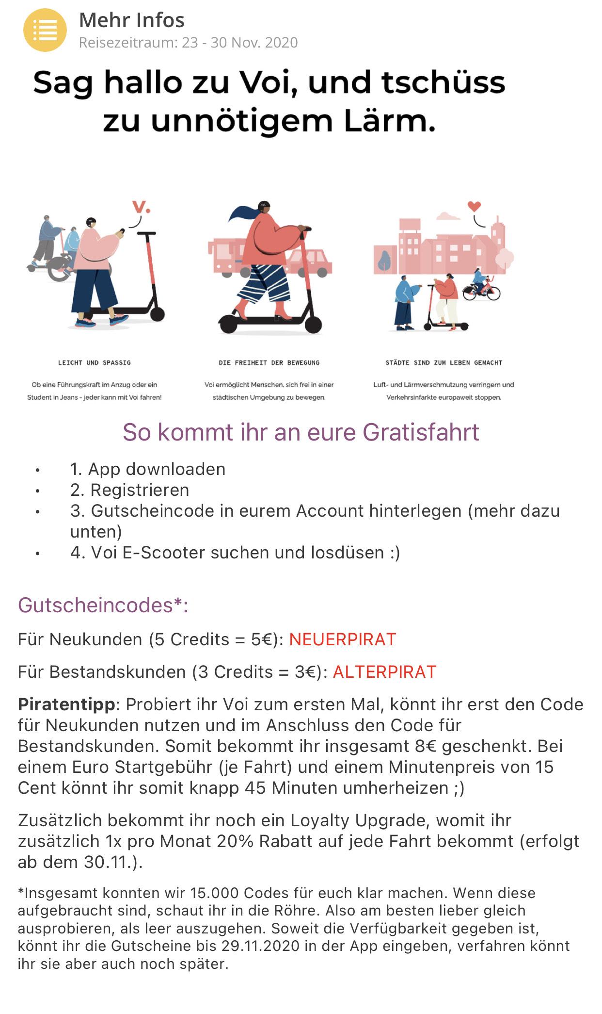 Voi Neukunden 8€ / Bestandskunden 3€ credits