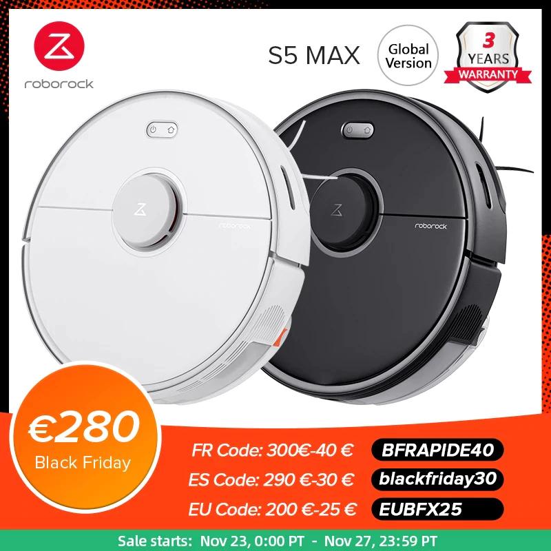Roborock S5 Max Saugroboter 2020 EU-Version mit Wischfunktion für ca. 289,08€ bei Aliexpress   weiß/schwarz   Versand aus der EU