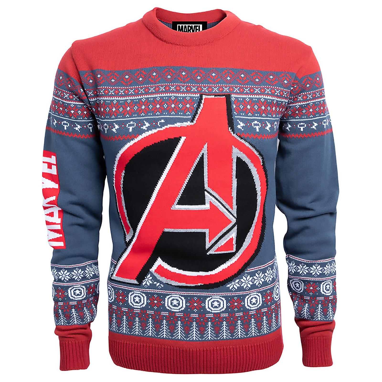 Marvel Avengers gestrickter Weihnachtspullover - Navyblau (Gr. XS-XXL) für 19,99€ + 1,49€ Versand