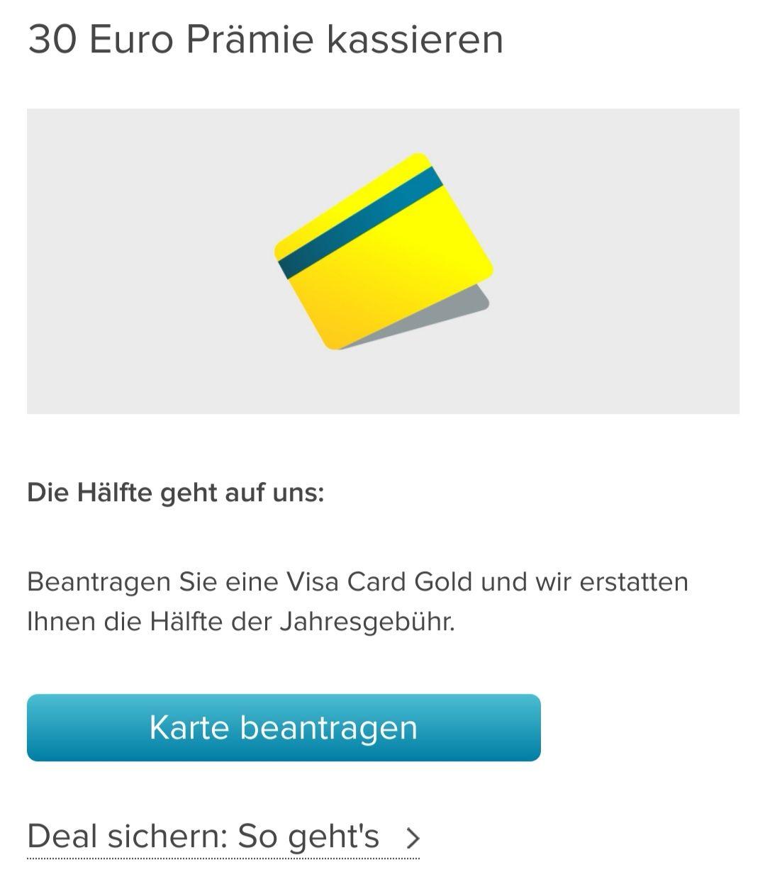 30€ Cashback Visa Karte Gold Consorsbank inkl. Handyschutzbrief, Gewinn möglich