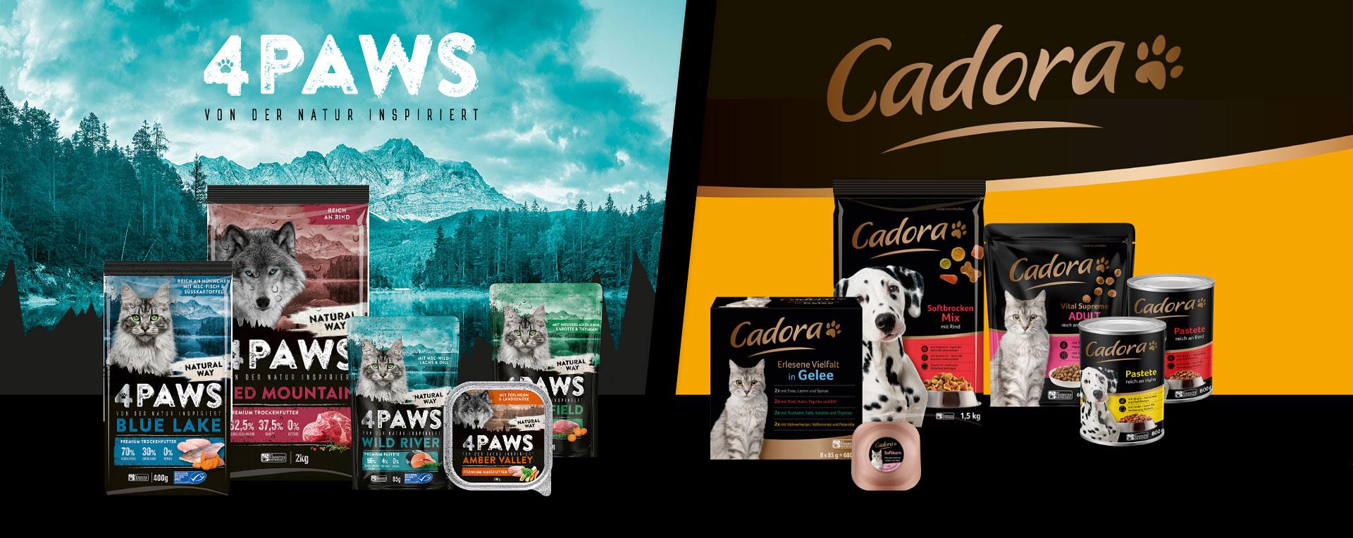 GZG-Tierfutter Edeka 4PAWS- & Cadora-Produkte mehre Produkte bis max. 4,70€