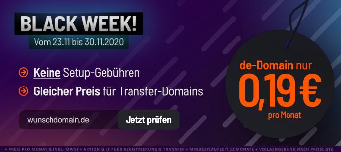 [do.de] Black Week bei Domain Offensive: DE und EU Domains für 2,28 €/Jahr - 0€ Einrichtungsgebühr - DynDNS - Gratis Zusatzdomain