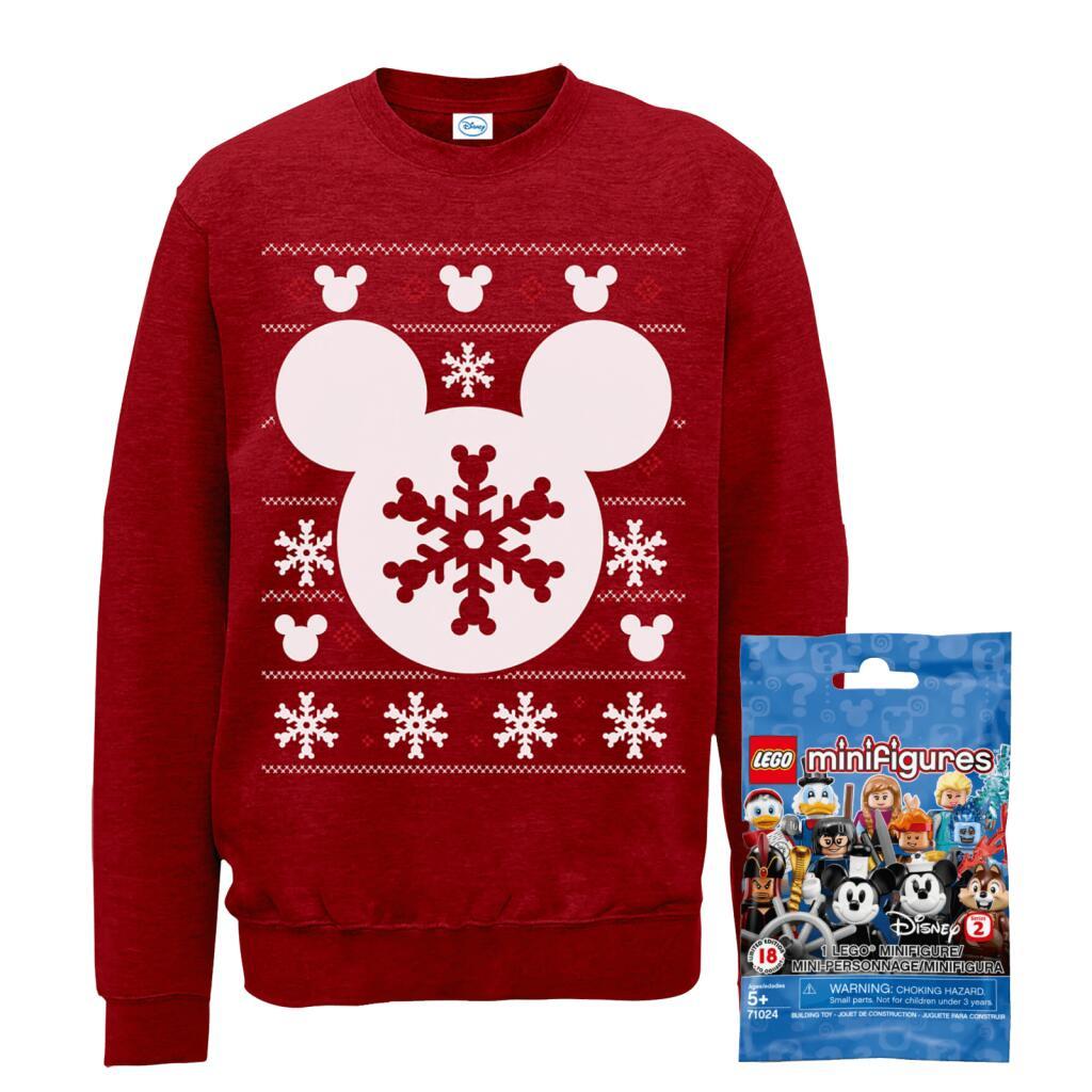 Disney Weihnachtspullover Mickey Mouse (Kinder Gr. 3-12 Jahren und Erwachsene S-XXL) + 1 Überraschungsset LEGO Figuren für 18,99€