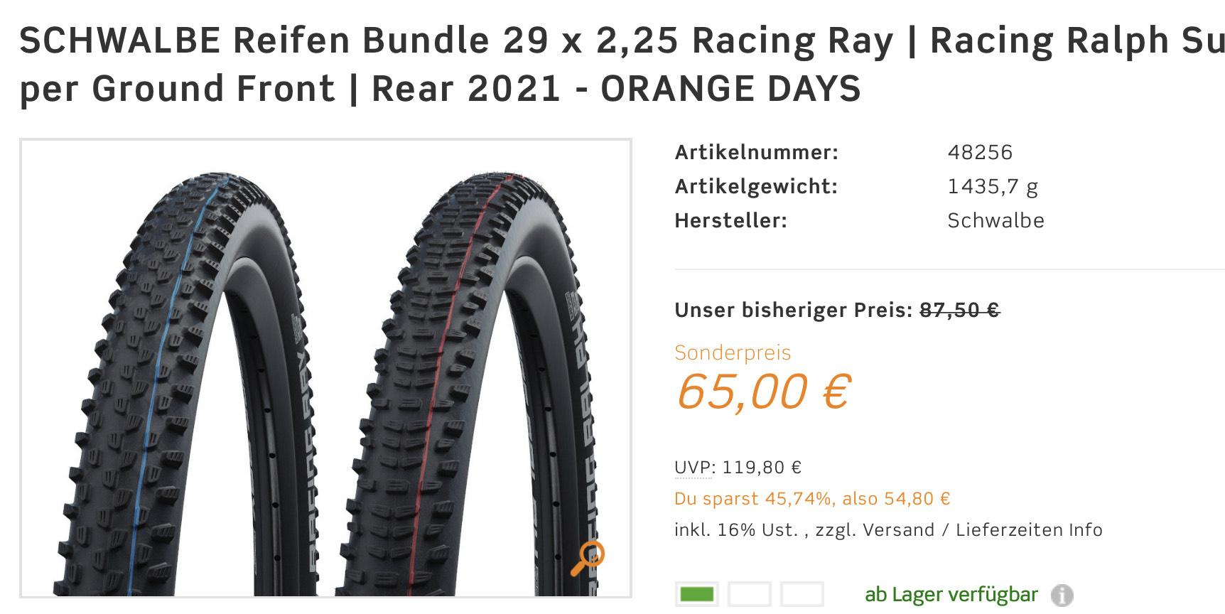 SCHWALBE Reifen Bundle 29 x 2,25 Racing Ray   Racing Ralph Super Ground Front   Rear 2021 - ORANGE DAYS